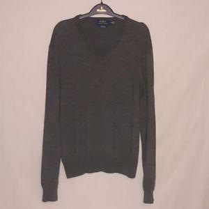 Ralph Lauren merini wool grey v neck sweater